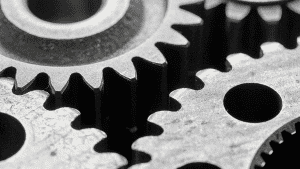 Black and white image of cogs